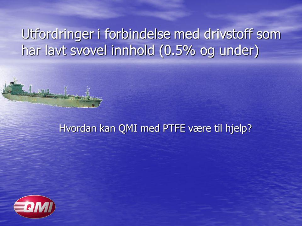 Utfordringer i forbindelse med drivstoff som har lavt svovel innhold (0.5% og under) Hvordan kan QMI med PTFE være til hjelp?