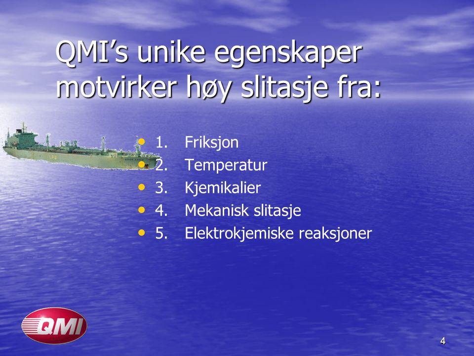 4 QMI's unike egenskaper motvirker høy slitasje fra: • • 1.Friksjon • • 2.Temperatur • • 3.Kjemikalier • • 4.Mekanisk slitasje • • 5.Elektrokjemiske r