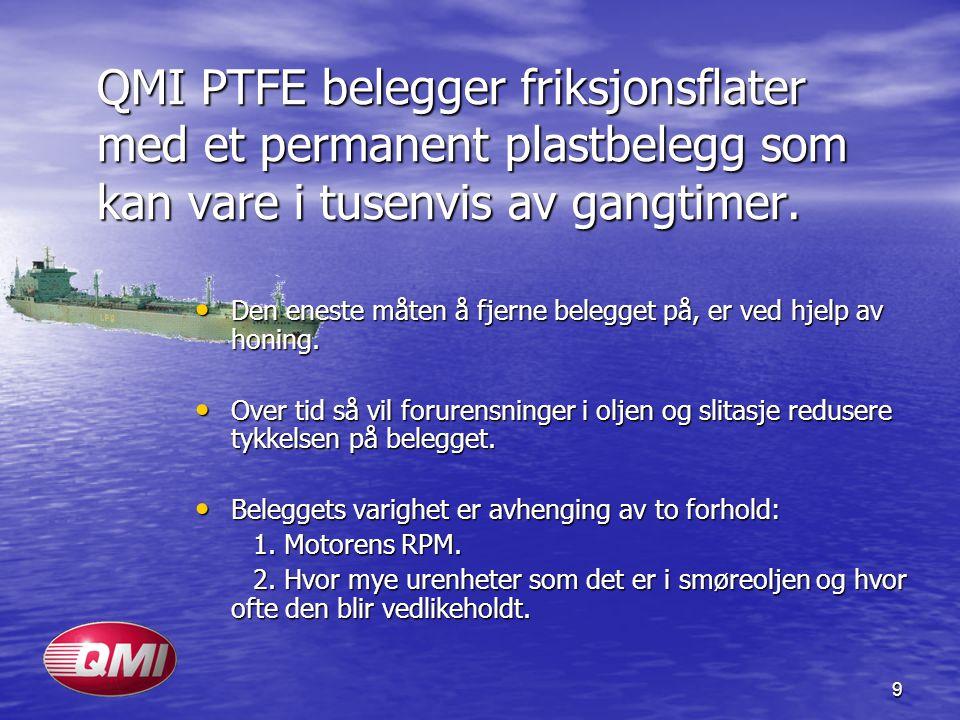 9 QMI PTFE belegger friksjonsflater med et permanent plastbelegg som kan vare i tusenvis av gangtimer. • Den eneste måten å fjerne belegget på, er ved