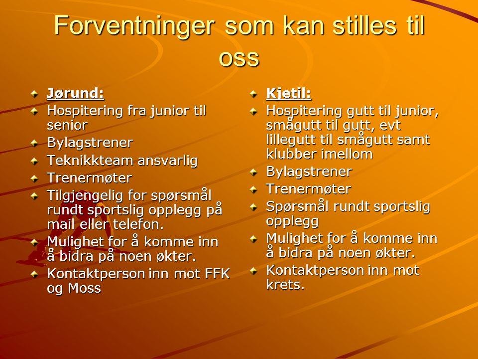 Forventninger som kan stilles til oss Jørund: Hospitering fra junior til senior Bylagstrener Teknikkteam ansvarlig Trenermøter Tilgjengelig for spørsm
