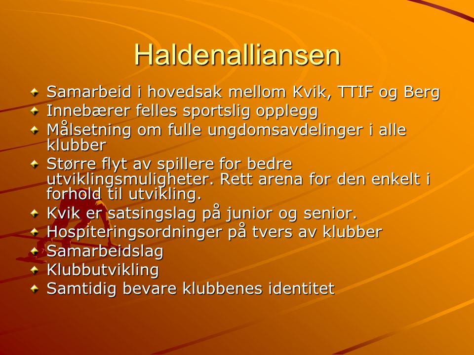 Haldenalliansen Samarbeid i hovedsak mellom Kvik, TTIF og Berg Innebærer felles sportslig opplegg Målsetning om fulle ungdomsavdelinger i alle klubber