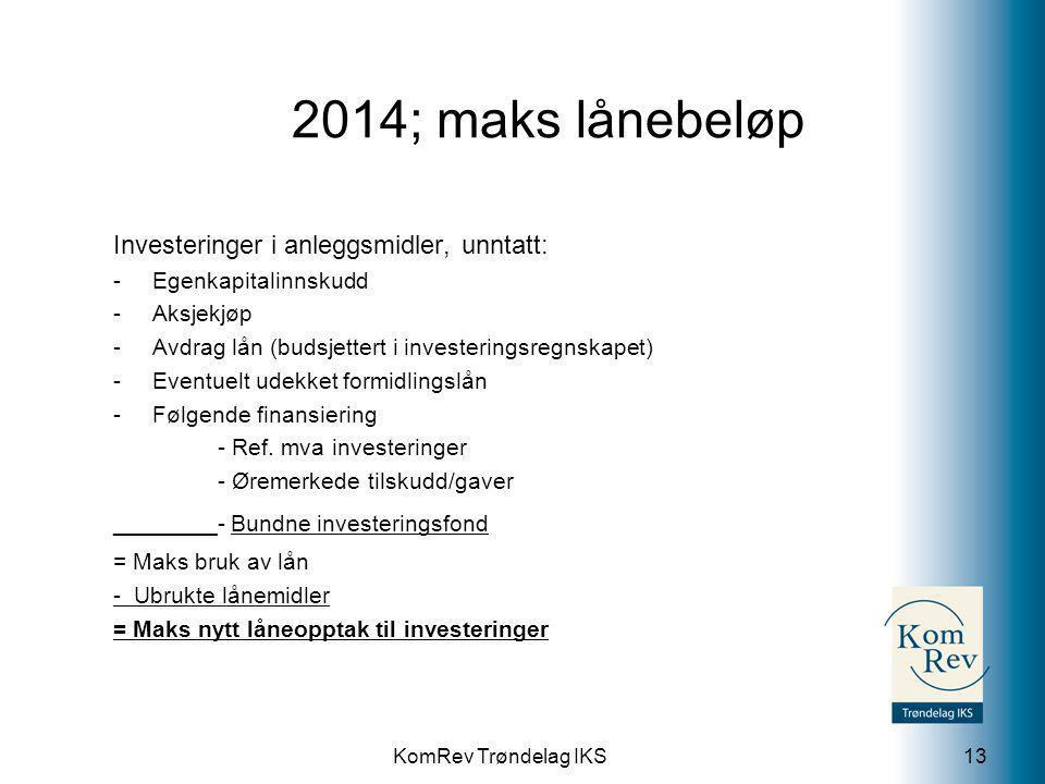 KomRev Trøndelag IKS 2014; maks lånebeløp 13 Investeringer i anleggsmidler, unntatt: -Egenkapitalinnskudd -Aksjekjøp -Avdrag lån (budsjettert i investeringsregnskapet) -Eventuelt udekket formidlingslån -Følgende finansiering - Ref.