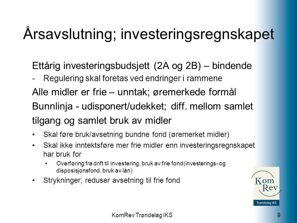 KomRev Trøndelag IKS Årsavslutning; driftsregnskapet 10 •Skal føre bruk og avsetning bundne fond (øremerkede midler) •Skal føre bruk og avsetning frie fond ihht budsjett.