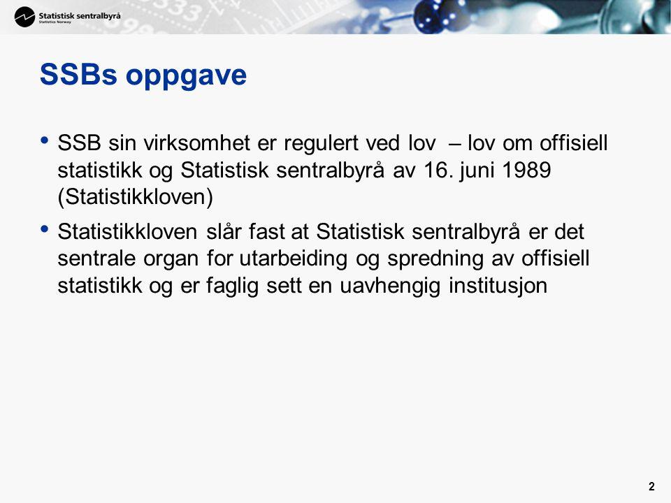 2 SSBs oppgave • SSB sin virksomhet er regulert ved lov – lov om offisiell statistikk og Statistisk sentralbyrå av 16. juni 1989 (Statistikkloven) • S
