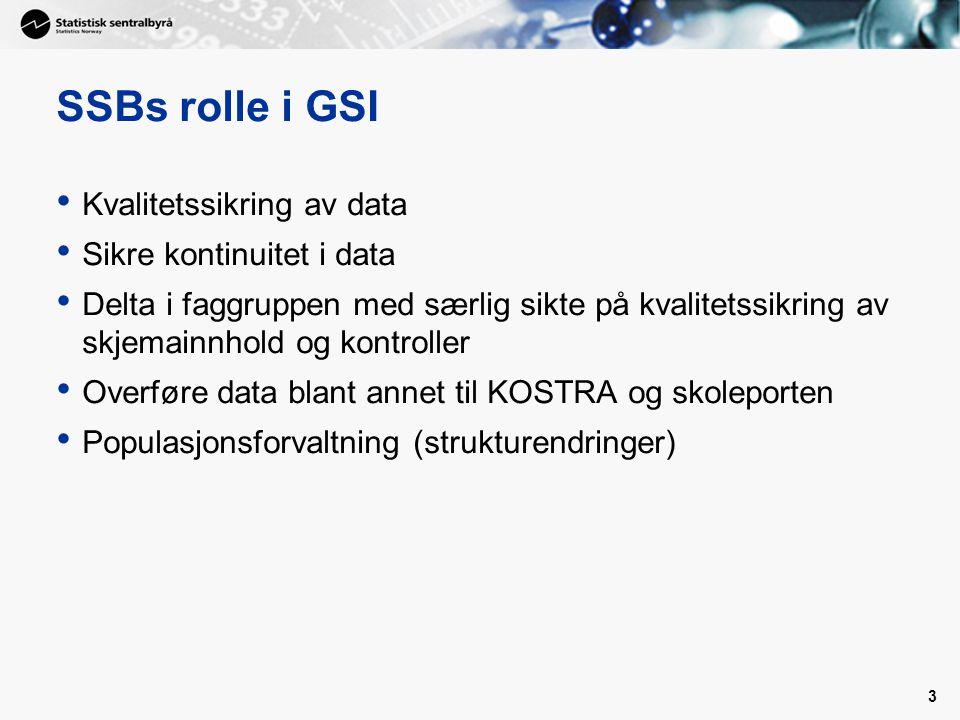 3 SSBs rolle i GSI • Kvalitetssikring av data • Sikre kontinuitet i data • Delta i faggruppen med særlig sikte på kvalitetssikring av skjemainnhold og kontroller • Overføre data blant annet til KOSTRA og skoleporten • Populasjonsforvaltning (strukturendringer)
