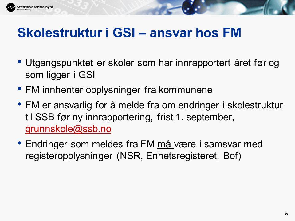 5 Skolestruktur i GSI – ansvar hos FM • Utgangspunktet er skoler som har innrapportert året før og som ligger i GSI • FM innhenter opplysninger fra ko