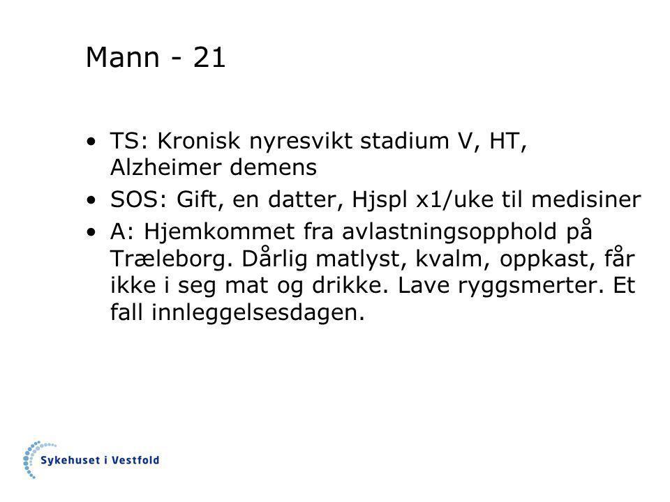 Mann - 21 •TS: Kronisk nyresvikt stadium V, HT, Alzheimer demens •SOS: Gift, en datter, Hjspl x1/uke til medisiner •A: Hjemkommet fra avlastningsopphold på Træleborg.