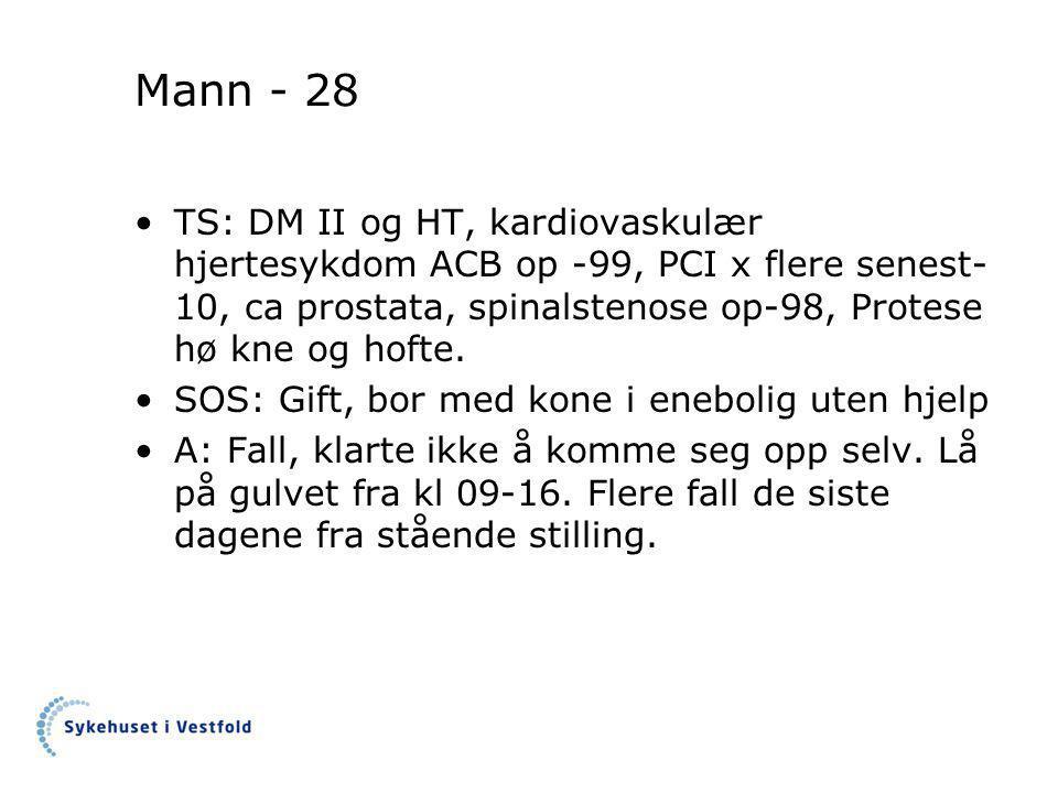 Mann - 28 •TS: DM II og HT, kardiovaskulær hjertesykdom ACB op -99, PCI x flere senest- 10, ca prostata, spinalstenose op-98, Protese hø kne og hofte.
