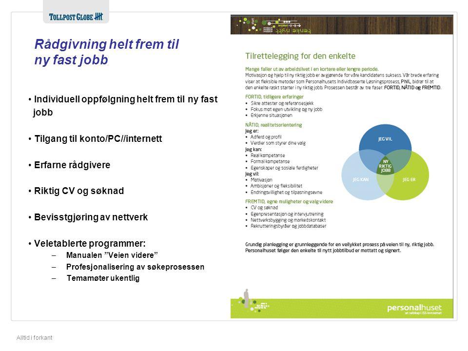 Alltid i forkant Rådgivning helt frem til ny fast jobb • Individuell oppfølgning helt frem til ny fast jobb • Tilgang til konto/PC//internett • Erfarn