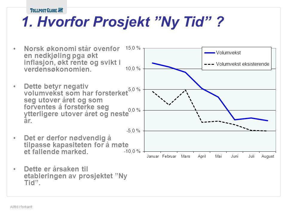 """Alltid i forkant 1. Hvorfor Prosjekt """"Ny Tid"""" ? •Norsk økonomi står ovenfor en nedkjøling pga økt inflasjon, økt rente og svikt i verdensøkonomien. •D"""