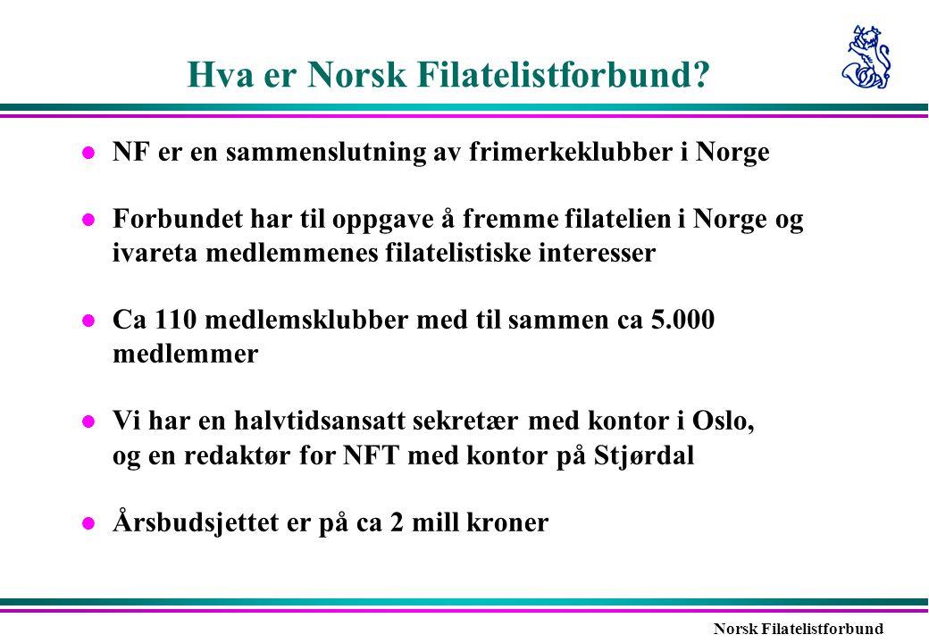Norsk Filatelistforbund Hva er Norsk Filatelistforbund? l NF er en sammenslutning av frimerkeklubber i Norge l Forbundet har til oppgave å fremme fila