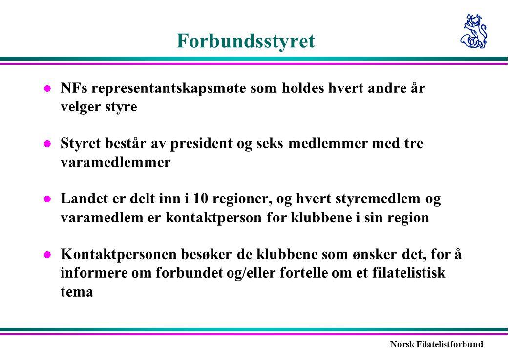 Norsk Filatelistforbund Forbundsstyret l NFs representantskapsmøte som holdes hvert andre år velger styre l Styret består av president og seks medlemm