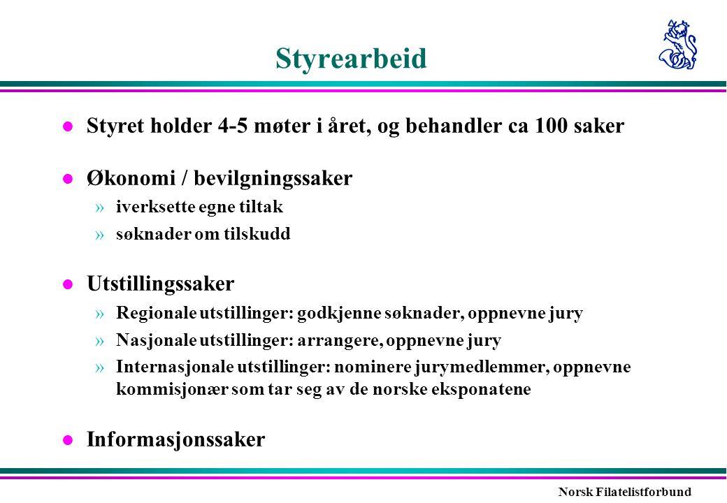 Norsk Filatelistforbund Styrearbeid l Styret holder 4-5 møter i året, og behandler ca 100 saker l Økonomi / bevilgningssaker »iverksette egne tiltak »