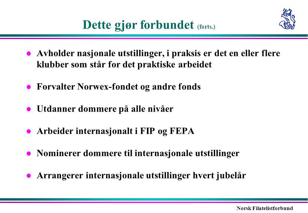 Norsk Filatelistforbund Dette gjør forbundet (forts.) l Avholder nasjonale utstillinger, i praksis er det en eller flere klubber som står for det prak