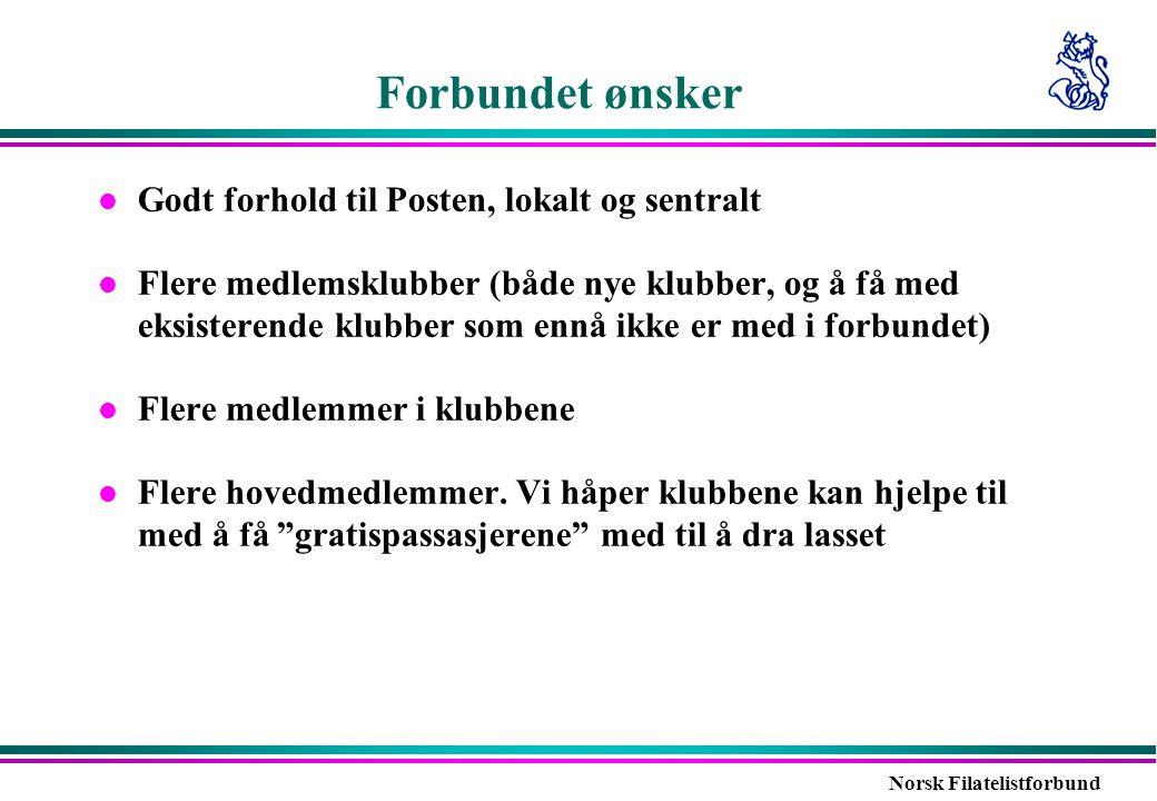 Norsk Filatelistforbund Forbundet ønsker l Godt forhold til Posten, lokalt og sentralt l Flere medlemsklubber (både nye klubber, og å få med eksistere