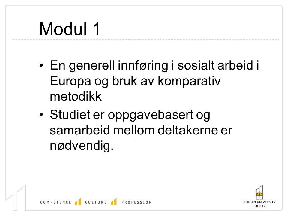 Modul 1 •En generell innføring i sosialt arbeid i Europa og bruk av komparativ metodikk •Studiet er oppgavebasert og samarbeid mellom deltakerne er nødvendig.