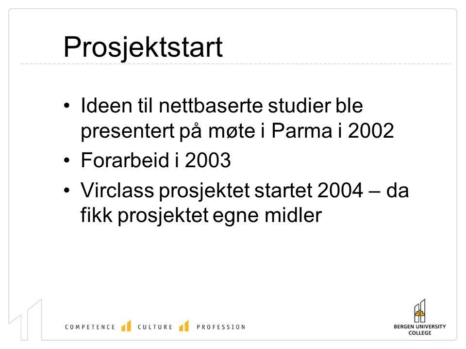 Prosjektstart •Ideen til nettbaserte studier ble presentert på møte i Parma i 2002 •Forarbeid i 2003 •Virclass prosjektet startet 2004 – da fikk prosjektet egne midler