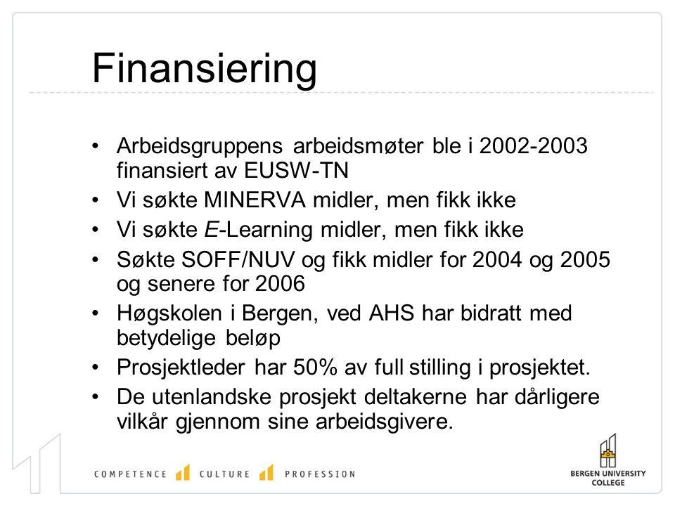 Finansiering •Arbeidsgruppens arbeidsmøter ble i 2002-2003 finansiert av EUSW-TN •Vi søkte MINERVA midler, men fikk ikke •Vi søkte E-Learning midler, men fikk ikke •Søkte SOFF/NUV og fikk midler for 2004 og 2005 og senere for 2006 •Høgskolen i Bergen, ved AHS har bidratt med betydelige beløp •Prosjektleder har 50% av full stilling i prosjektet.