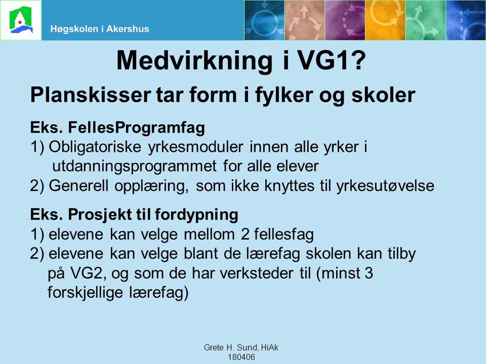 Grete Haaland Sund, HiAk, 240306 Medvirkning i VG1? Planskisser tar form i fylker og skoler Eks. FellesProgramfag 1) Obligatoriske yrkesmoduler innen