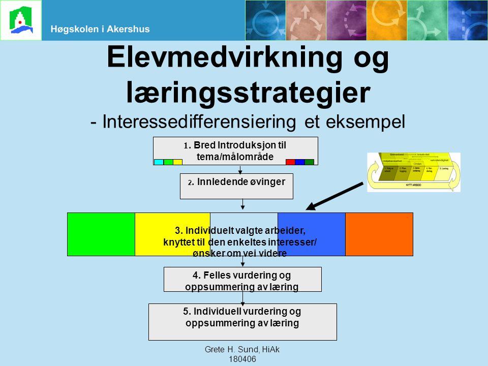 Grete Haaland Sund, HiAk, 240306 Elevmedvirkning og læringsstrategier - Interessedifferensiering et eksempel 1. Bred Introduksjon til tema/målområde 2