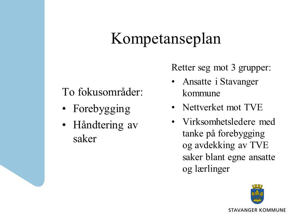 Kompetanseplan To fokusområder: •Forebygging •Håndtering av saker Retter seg mot 3 grupper: •Ansatte i Stavanger kommune •Nettverket mot TVE •Virksomhetsledere med tanke på forebygging og avdekking av TVE saker blant egne ansatte og lærlinger