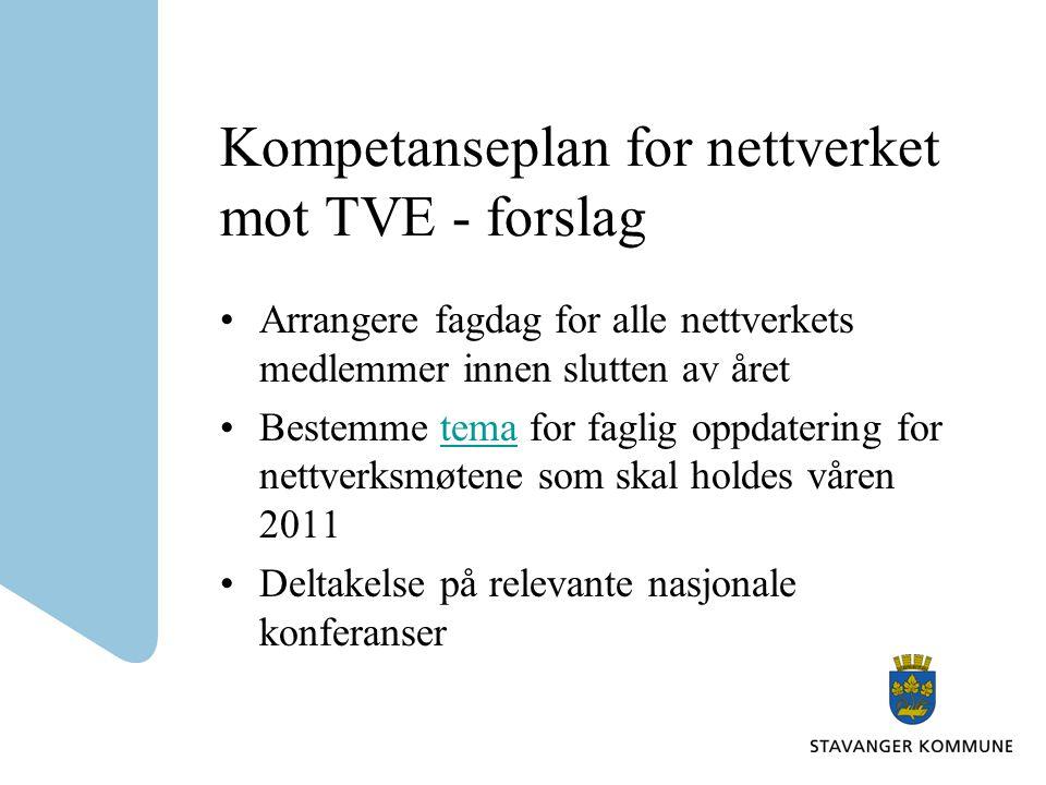 Kompetanseplan for nettverket mot TVE - forslag •Arrangere fagdag for alle nettverkets medlemmer innen slutten av året •Bestemme tema for faglig oppdatering for nettverksmøtene som skal holdes våren 2011tema •Deltakelse på relevante nasjonale konferanser