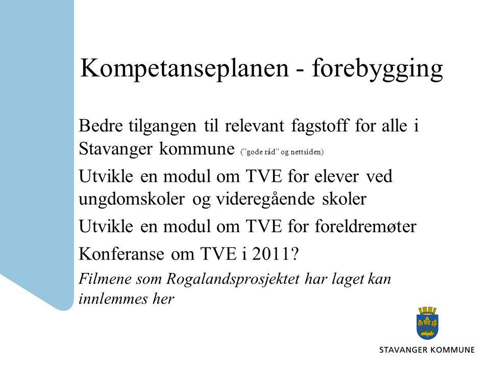 Kompetanseplanen - forebygging Bedre tilgangen til relevant fagstoff for alle i Stavanger kommune ( gode råd og nettsiden) Utvikle en modul om TVE for elever ved ungdomskoler og videregående skoler Utvikle en modul om TVE for foreldremøter Konferanse om TVE i 2011.