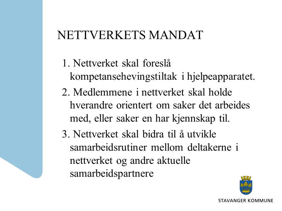 NETTVERKETS MANDAT 1. Nettverket skal foreslå kompetansehevingstiltak i hjelpeapparatet.