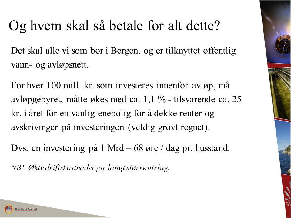 Og hvem skal så betale for alt dette? Det skal alle vi som bor i Bergen, og er tilknyttet offentlig vann- og avløpsnett. For hver 100 mill. kr. som in