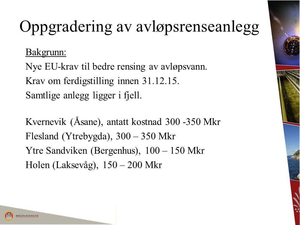 Oppgradering av avløpsrenseanlegg Bakgrunn: Nye EU-krav til bedre rensing av avløpsvann. Krav om ferdigstilling innen 31.12.15. Samtlige anlegg ligger