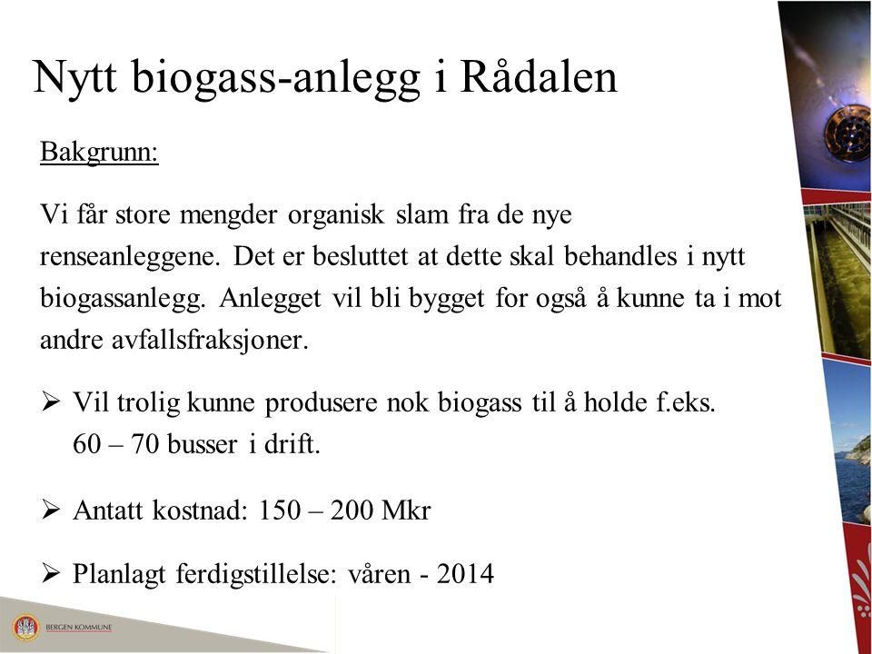 Nytt biogass-anlegg i Rådalen Planlagte anskaffelser: Totalentreprise prosess / maskin:Prekvalifisering ute nå.