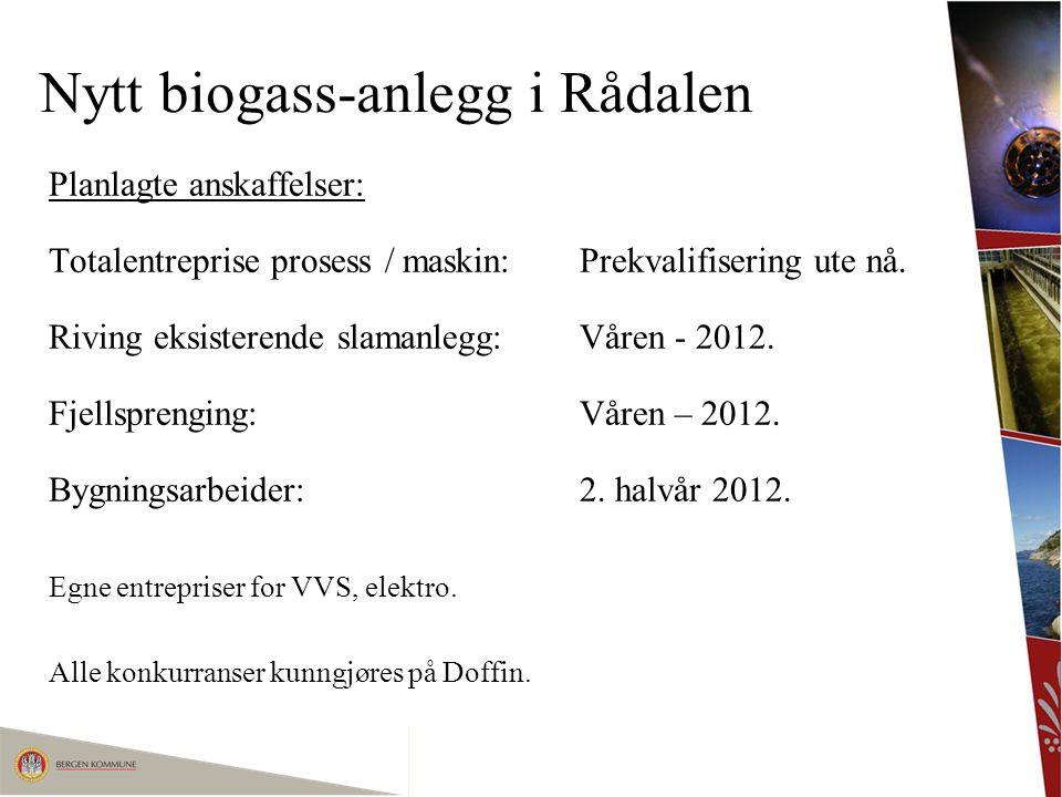 Nytt biogass-anlegg i Rådalen Planlagte anskaffelser: Totalentreprise prosess / maskin:Prekvalifisering ute nå. Riving eksisterende slamanlegg: Våren