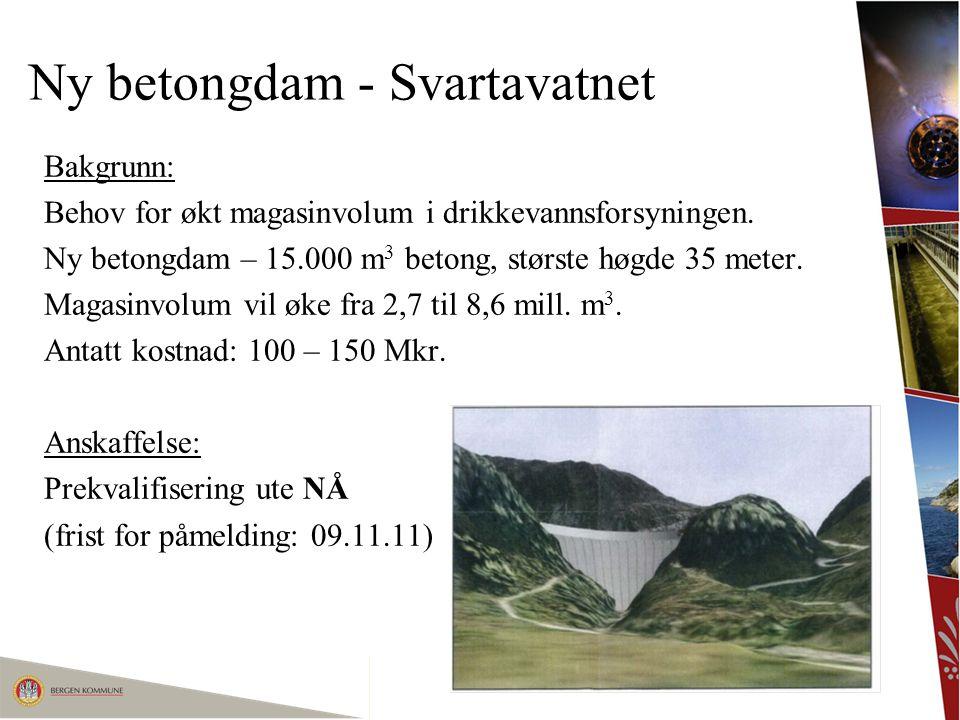 Ny betongdam - Svartavatnet Bakgrunn: Behov for økt magasinvolum i drikkevannsforsyningen. Ny betongdam – 15.000 m 3 betong, største høgde 35 meter. M