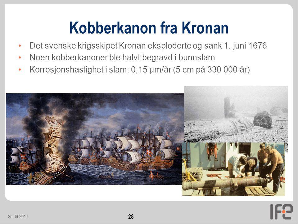 25.06.2014 28 Kobberkanon fra Kronan •Det svenske krigsskipet Kronan eksploderte og sank 1.