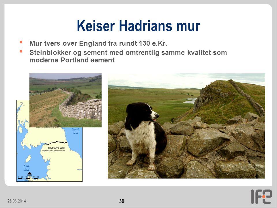 25.06.2014 30 Keiser Hadrians mur • Mur tvers over England fra rundt 130 e.Kr.