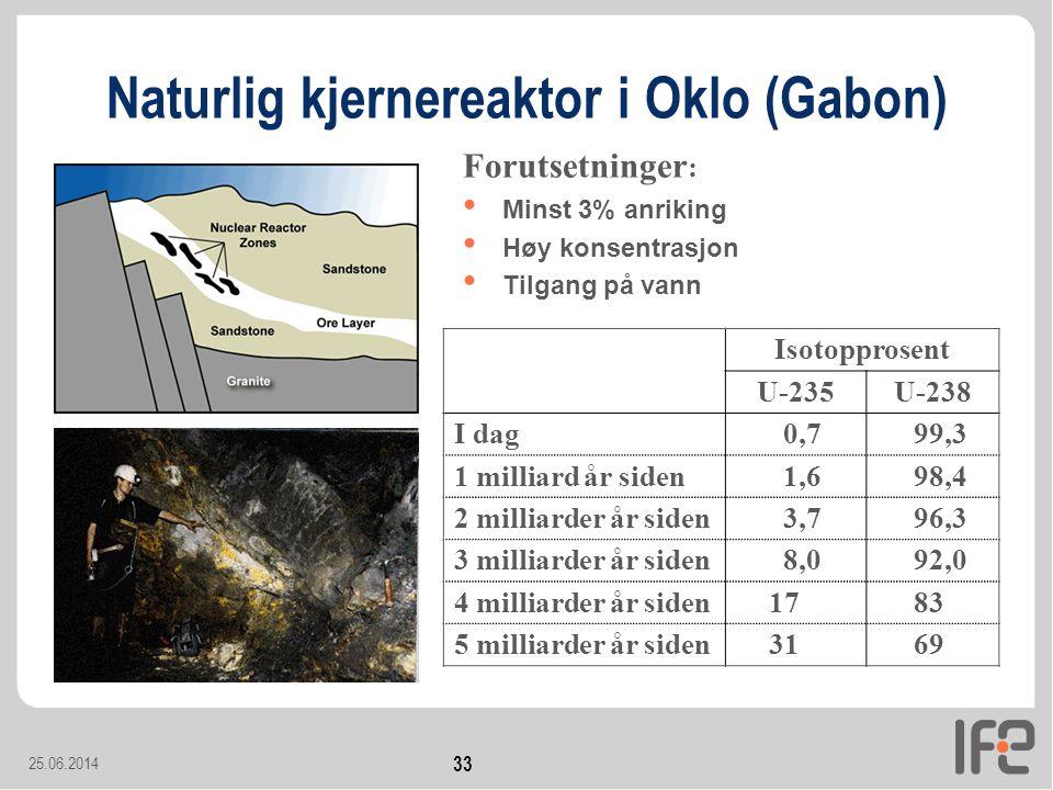 25.06.2014 33 Naturlig kjernereaktor i Oklo (Gabon) •1,7 milliarder år siden Isotopprosent U-235U-238 I dag 0,799,3 1 milliard år siden 1,698,4 2 milliarder år siden 3,796,3 3 milliarder år siden 8,092,0 4 milliarder år siden1783 5 milliarder år siden3169 • Minst 3% anriking • Høy konsentrasjon • Tilgang på vann Forutsetninger :