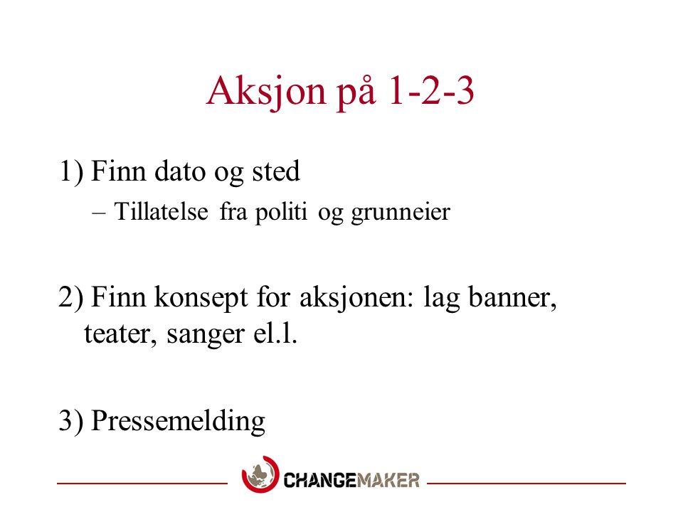 Aksjon på 1-2-3 1) Finn dato og sted –Tillatelse fra politi og grunneier 2) Finn konsept for aksjonen: lag banner, teater, sanger el.l.