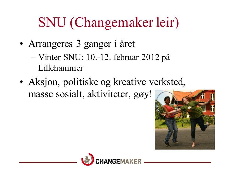 SNU (Changemaker leir) •Arrangeres 3 ganger i året –Vinter SNU: 10.-12.