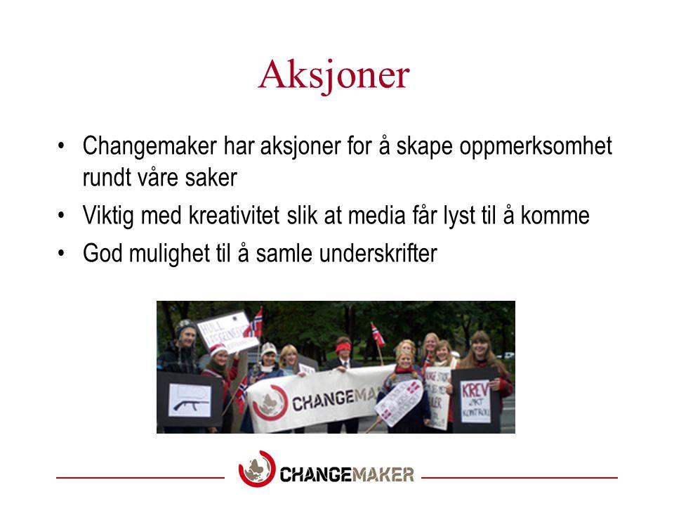 Aksjoner •Changemaker har aksjoner for å skape oppmerksomhet rundt våre saker •Viktig med kreativitet slik at media får lyst til å komme •God mulighet til å samle underskrifter