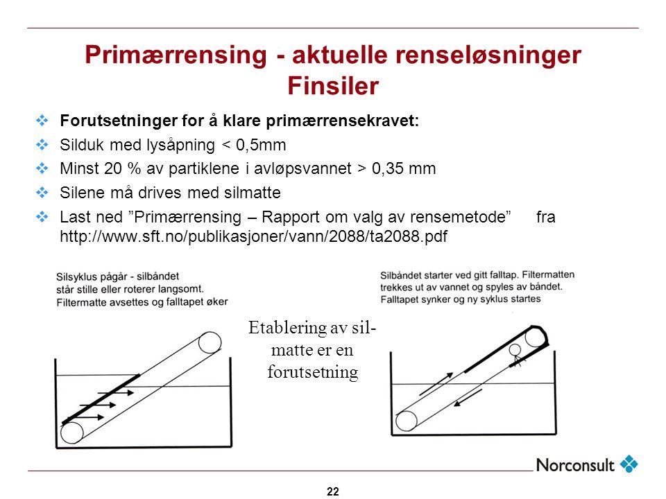 22 Primærrensing - aktuelle renseløsninger Finsiler  Forutsetninger for å klare primærrensekravet:  Silduk med lysåpning < 0,5mm  Minst 20 % av par