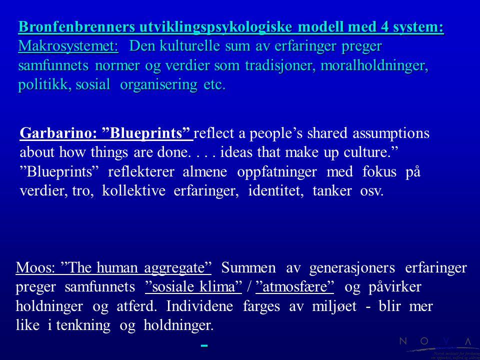 - Bronfenbrenners utviklingspsykologiske modell med 4 system: Makrosystemet: Den kulturelle sum av erfaringer preger samfunnets normer og verdier som
