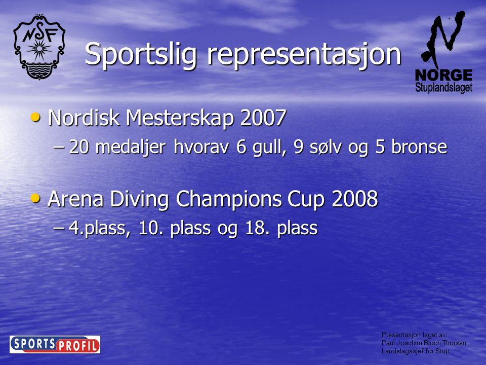 Presentasjon laget av: Paul Joachim Bloch Thorsen Landslagssjef for Stup Fremover Sportslig representasjon • I 2009 har Landslaget som mål å representere i: –4 FINA Grand Prix (todelt system etter gradering, totalt 8 stupere) –EM, Torino (4 stupere) –VM, Roma (5 stupere) –Nordisk Mesterskap (Fullt lag) Junior: –Printerspringen, Aachen (8 stupere) –EM Junior (7 stupere) –Nordisk Junior (Fullt lag)