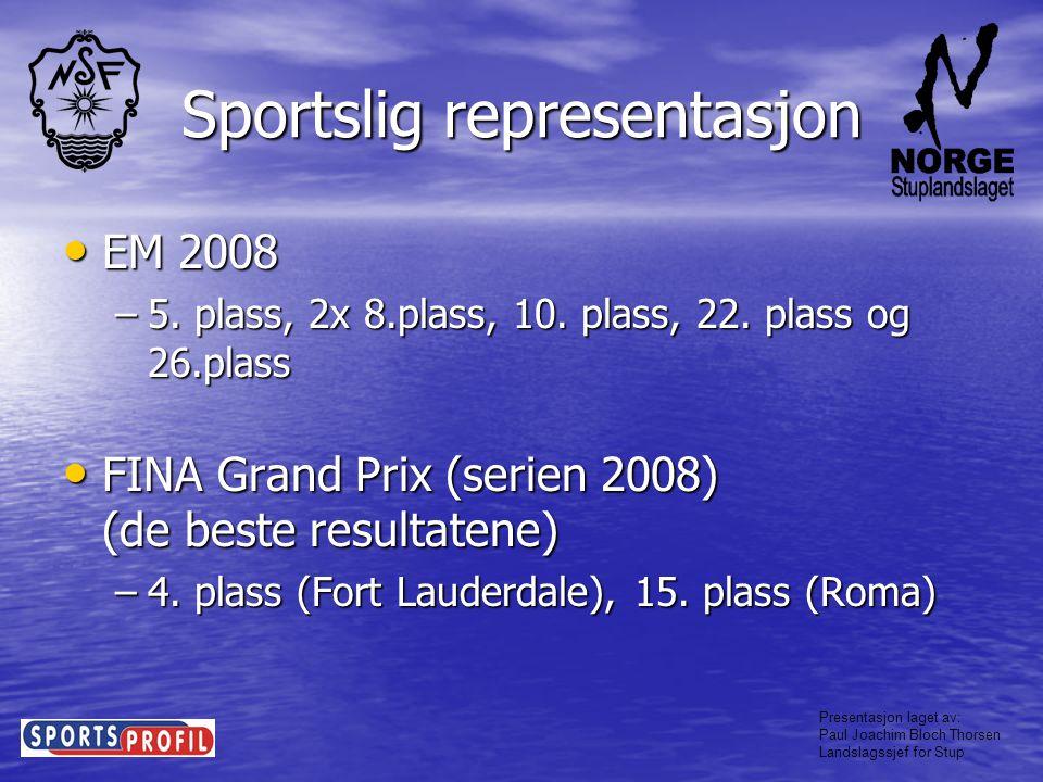 Presentasjon laget av: Paul Joachim Bloch Thorsen Landslagssjef for Stup Sportslig representasjon De beste juniorresultatene • Printerspringen Aachen –2x10.