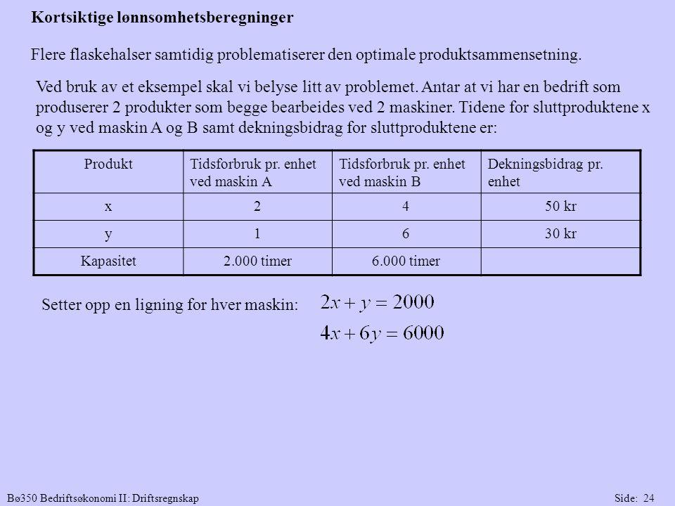 Bø350 Bedriftsøkonomi II: DriftsregnskapSide: 24 Flere flaskehalser samtidig problematiserer den optimale produktsammensetning. Ved bruk av et eksempe