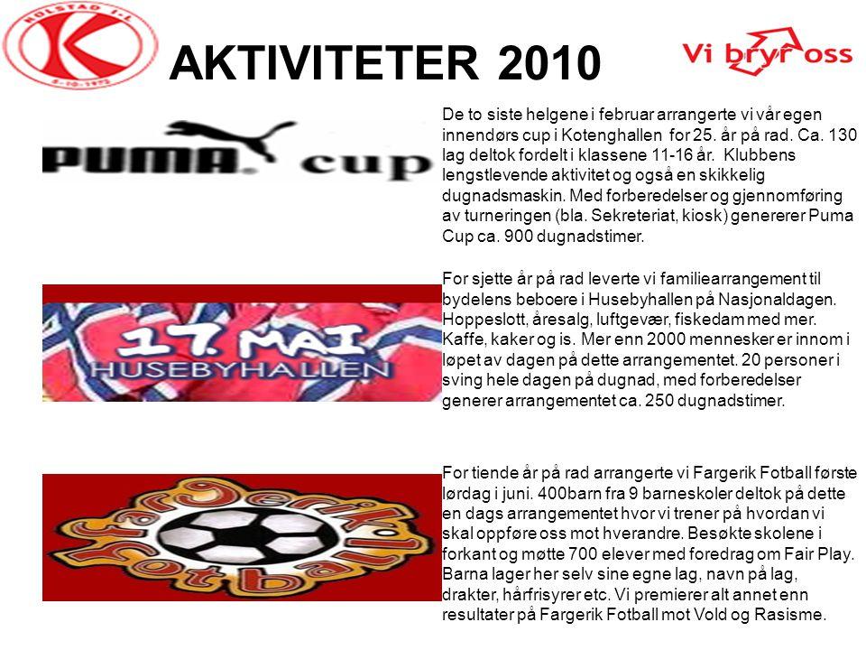 AKTIVITETER 2010 De to siste helgene i februar arrangerte vi vår egen innendørs cup i Kotenghallen for 25. år på rad. Ca. 130 lag deltok fordelt i kla