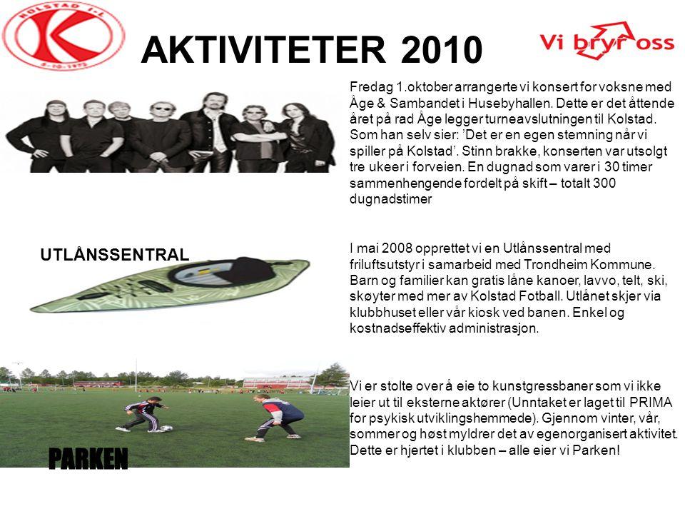 AKTIVITETER 2010 Fredag 1.oktober arrangerte vi konsert for voksne med Åge & Sambandet i Husebyhallen. Dette er det åttende året på rad Åge legger tur