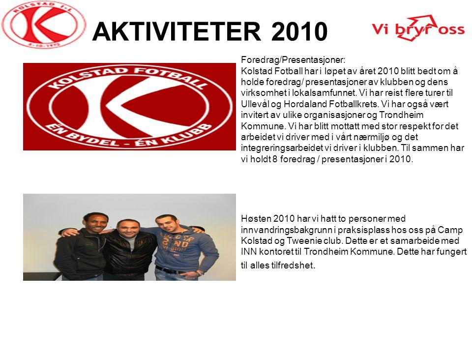 AKTIVITETER 2010 Foredrag/Presentasjoner: Kolstad Fotball har i løpet av året 2010 blitt bedt om å holde foredrag/ presentasjoner av klubben og dens v
