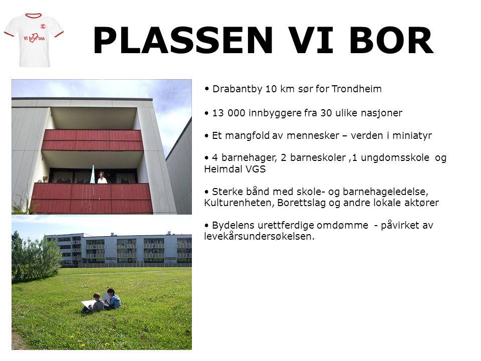 PLASSEN VI BOR • Drabantby 10 km sør for Trondheim • 13 000 innbyggere fra 30 ulike nasjoner • Et mangfold av mennesker – verden i miniatyr • 4 barneh