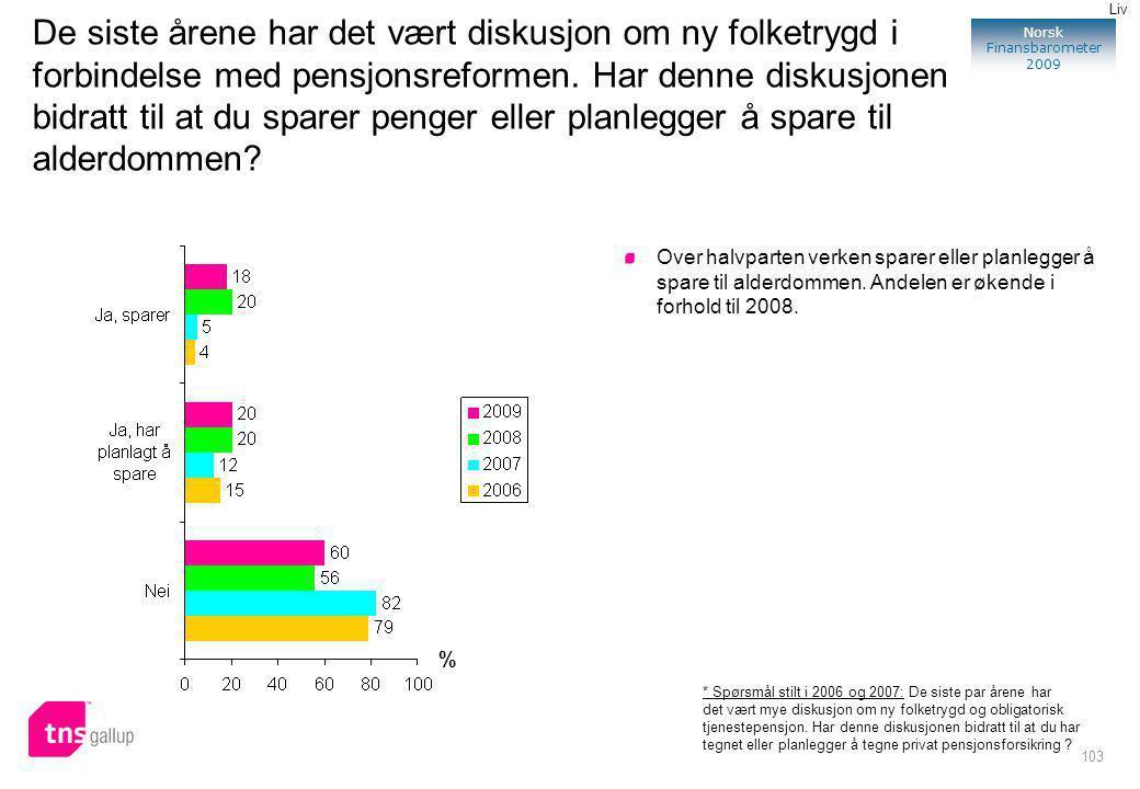 103 Norsk Finansbarometer 2009 De siste årene har det vært diskusjon om ny folketrygd i forbindelse med pensjonsreformen.
