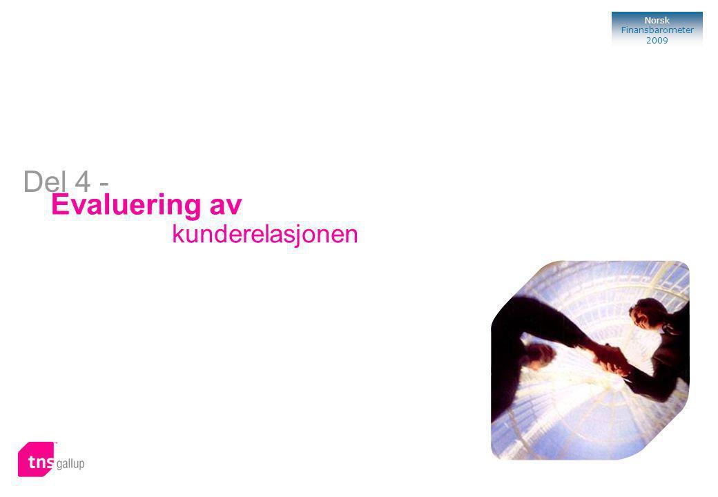113 Norsk Finansbarometer 2009 Bank Evaluering av kunderelasjonen Del 4 -